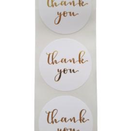 Sticker thank you wit/goud