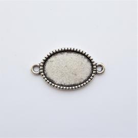 Setting / tussenstuk antiek-zilver voor cabochon van 13x18mm