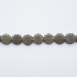 Glaskraal schijf grijs - ca. 12x3,5mm