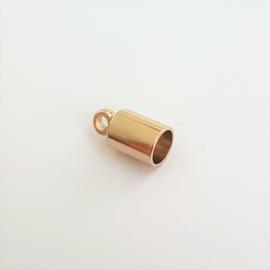 Eindkapje lichtgoud voor 4mm draad/koord