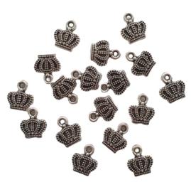 Bedeltje kroon antiek-zilver