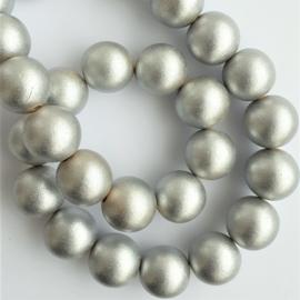 Houten kraal zilver- ca. 16mm