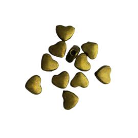 Klein tussenkraaltje hart brons, verticaal gat - ca. 6mm