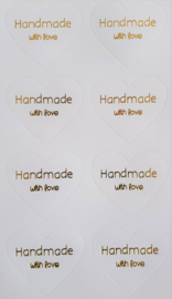 Stickervel Handmade with love - goud