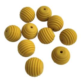 Siliconen kraal ribbel mosterd - ca. 15mm
