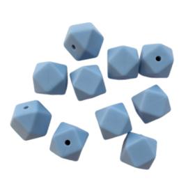 Siliconen kraal hexagon poederblauw - ca. 14mm