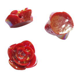 Acryl roos glans rood - ca. 15mm