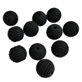 Siliconen kraal ribbel zwart - ca. 15mm