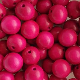 Houten kraal fuchsia roze  - 16mm