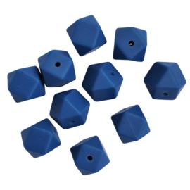 Siliconen kraal hexagon donkerblauw - ca. 14mm