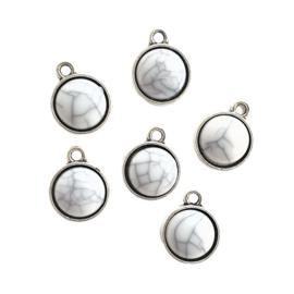 Hangertje antiek-zilver / marmer