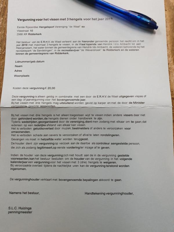 Waaltje rijsoord 3e hengel vergunning.