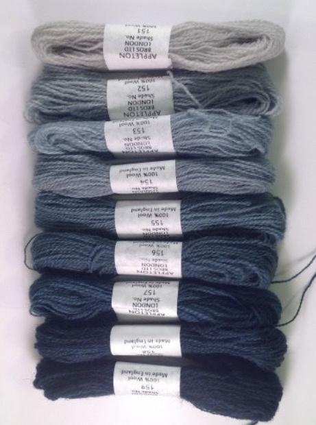 Mid blue crewel wool 151-159