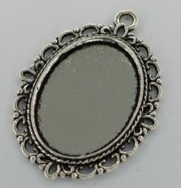 Medaillon - Ovaal ornament zilver