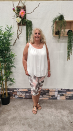 6357 Capri Broek Day print blad roze  t/m 50