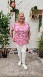5674 Shirt Janel print paisly  roze t/m 48