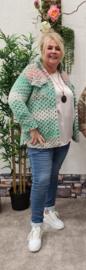 2141 Kort Vest Wooly mint- licht roze  t/m 48