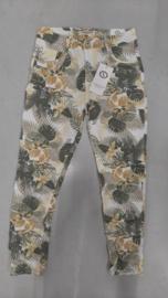 6353 Jeans Karo 3091 print flower geel/groen t/m 48