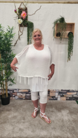 8038 Gehaakte Poncho wit t/m 56