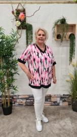 5484 Shirt Texas print Army roze t/m 52