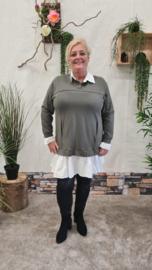 7018 Trui met vaste blouse olijf groen t/m 48