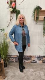 5662 Jeans Shacket Blouse Carflori blue t/m 54