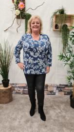 6458 Shirt Magna print rub jeans blauw creool t/m 58