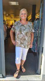 6474 Shirt Carlux mai print tropical olijf groen t/m 54
