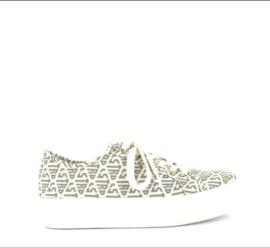 Sneaker Canvas print lastrada white - beige t/m 42