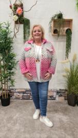 2141 Kort Vest Wooly grijs-roze t/m 48