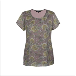 5674 Shirt Janel print paisly taupe - lemon  t/m 48