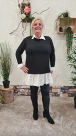 7018 Trui met vaste blouse zwart  t/m 48