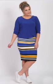 6309 Rokje Stripe blue- yellow t/m 58