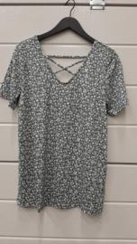 6466 Shirt Carbandana print green flower  t/m 54