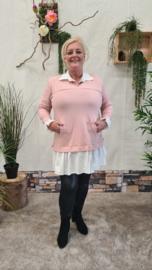 7018 Trui met vaste blouse licht roze t/m 48
