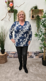 6458 Shirt Magna print schuine rub jeans blauw t/m 58