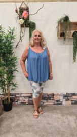 6357 Capri Broek Day print blad jeans blauw  t/m 50