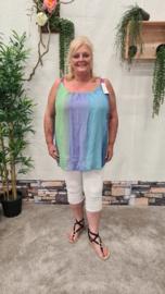 4015 Top Inez print rainbow jeans blauw t/m 52