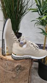 Sneaker La Strada leopard knitted beige/ silver  t/m 42