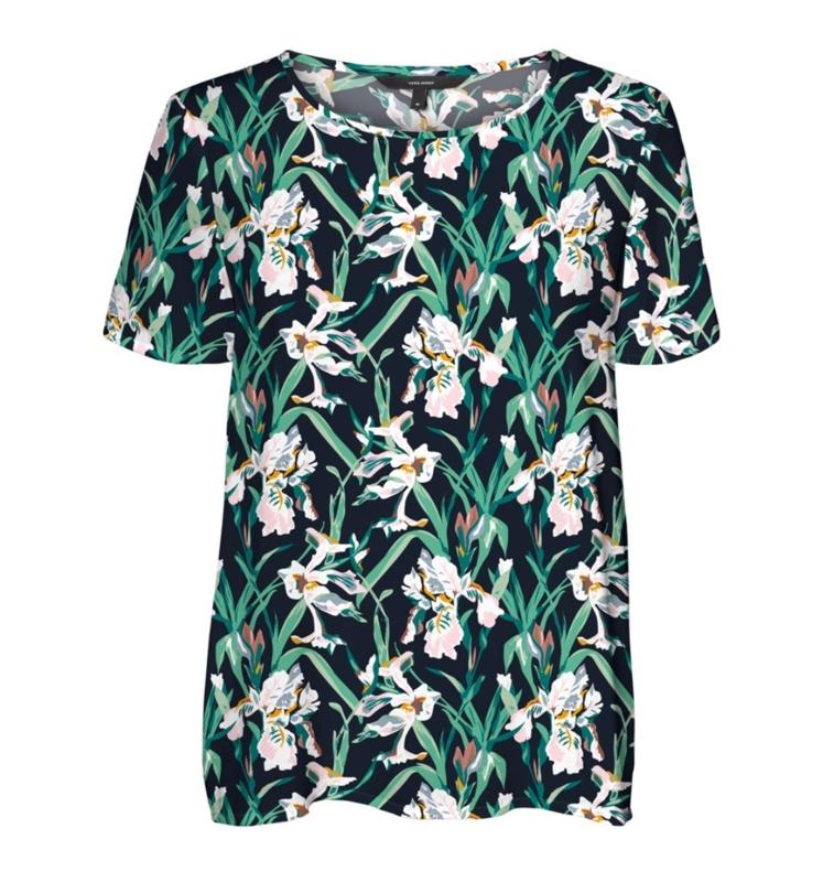 4663 Shirt VM Simply print green leaf t/m 54