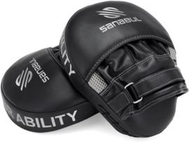 Sanabul Essential Curved Punch Mitts - zwart, zilver