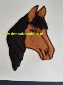 Applicatie paard hoofd zwart