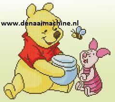 Diamond painting Winnie the Pooh met Knorretje en pot honing