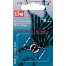 Prym bikini sluiting 15 mm zilver kleurig