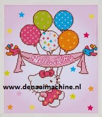 Diamond painting Hello Kiity met ballonnen