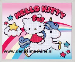 Diamond painting Hello Kitty met eenhoorn