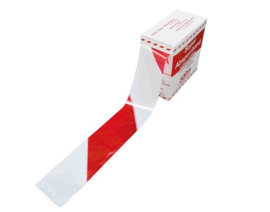 Waarschuwing lint rood/wit 80mm x 500m