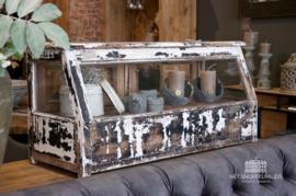 Authentieke tafel vitrinekast