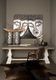 Witte kloostertafel met rustiek eiken blad Brighton