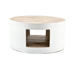 Tafel ByBoo Coffeetable Barrel - White